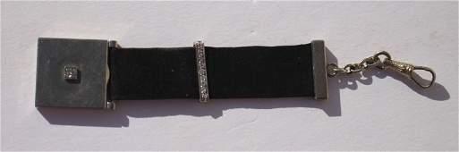 Rare 18k white gold watch fob locket w diamonds