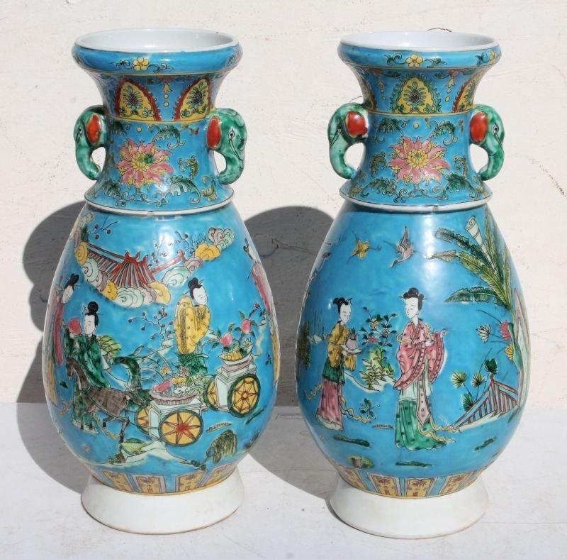 lg pr of Chinese porcelain Famille blue vases w figural