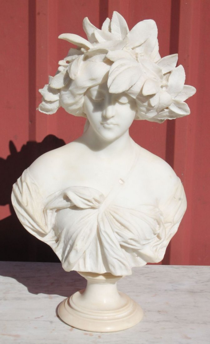 sgnd Adolfo Cipriani (1880-1930 Italian) marble bust of