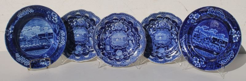 lot of 5 early 19thC Historical Blue items incl 4