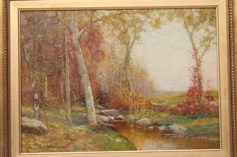 """Excellent Bruce Crane (1857-1937) 16""""x22"""" o/c autumn"""