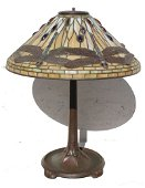 Outstanding fully sgnd Tiffany dragonfly table lamp on