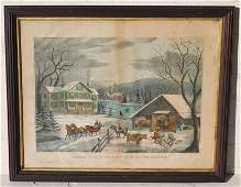 Winter in the Country - The Farmer's Home hand colored