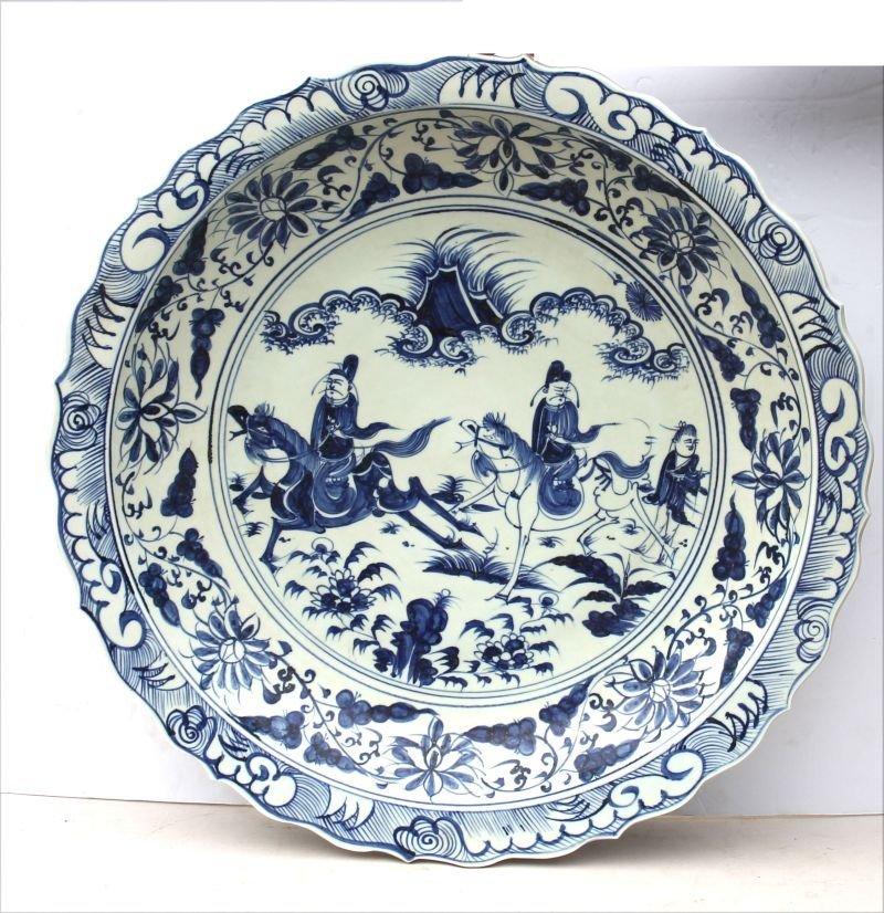 Large Chinese blue & white porcelain platter w hnd ptd