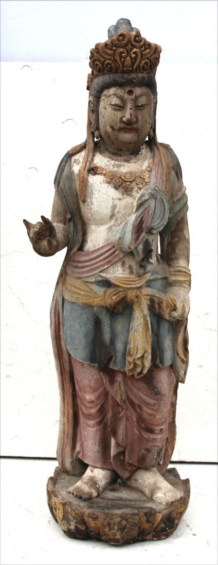 "Chinese carved & wood painted Quan Yin - 53"" tall"