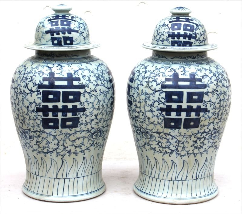 pr Chinese porcelain covered jars w hnd ptd blue &