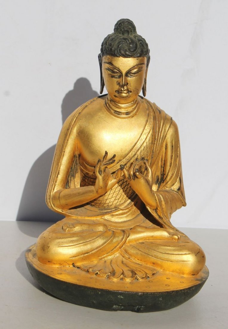 "Asian bronze seated Buddha - 8"" tall"