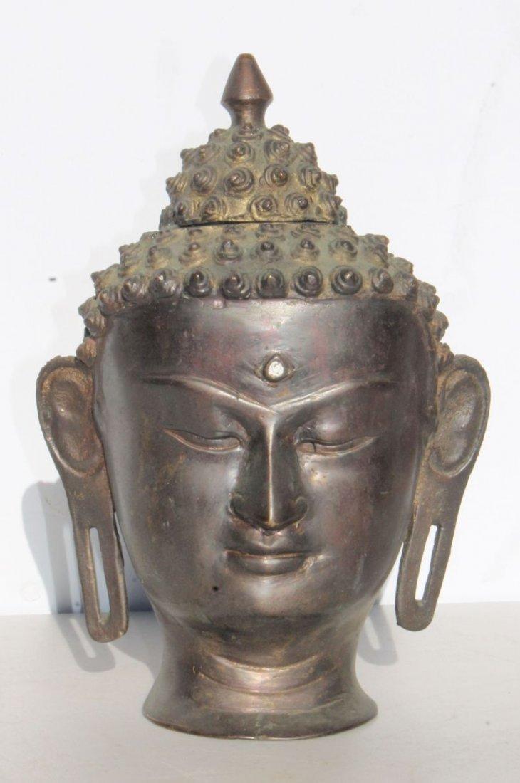 """Asian bronze bust - 10 1/2"""" tall"""