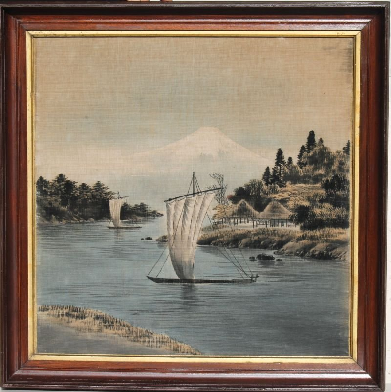 """Early 20thC 22 1/2"""" square w/c on silk inlet scene w"""