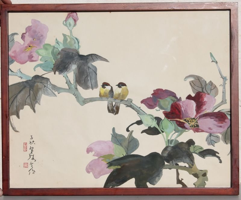 """sgnd Asian 16""""x20"""" w/c depicting birds on floral"""
