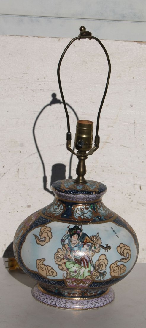20thC Asian Porcelain lamp w figural scenic panels &