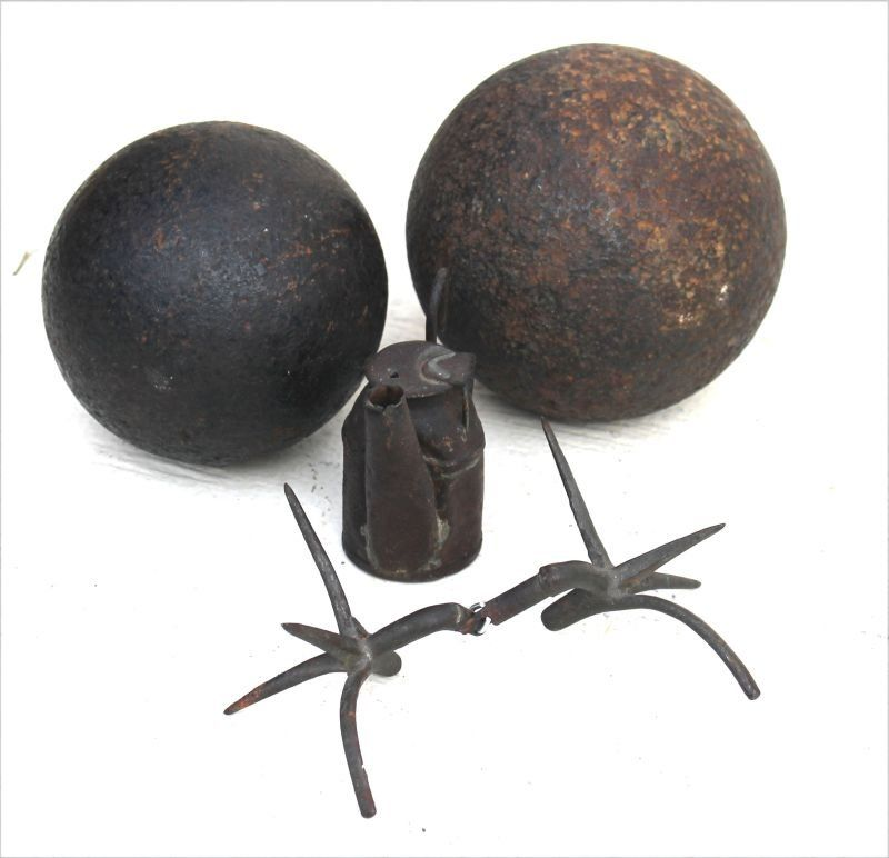 Revolutionary War lot incl 2 cannon balls; a coupled