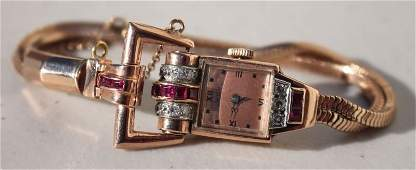 Fine 14k gold Art Deco ruby  diamond Gruen watch