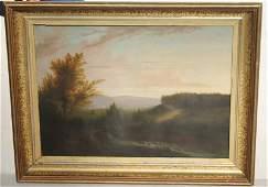 """fine quality 19thC 22""""x30"""" o/c landscape w tiny figures"""