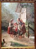 40x30 oc genre scene depicting woman  children w