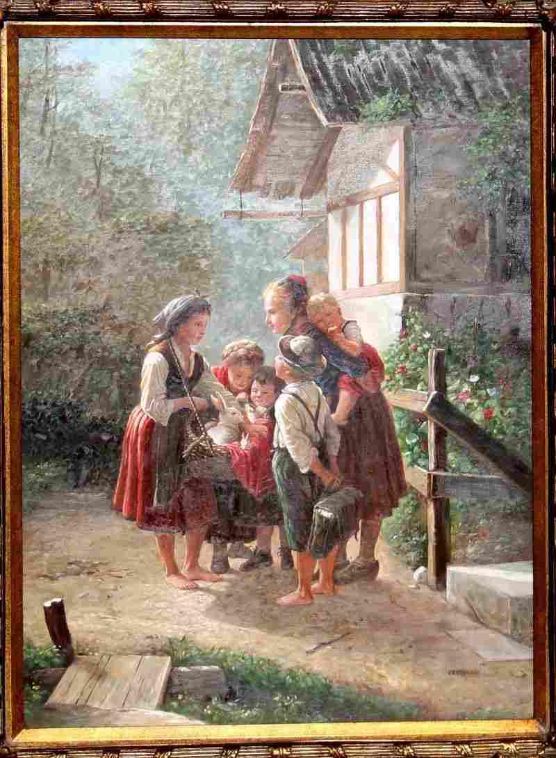 "40""x30"" o/c genre scene depicting woman & children w"