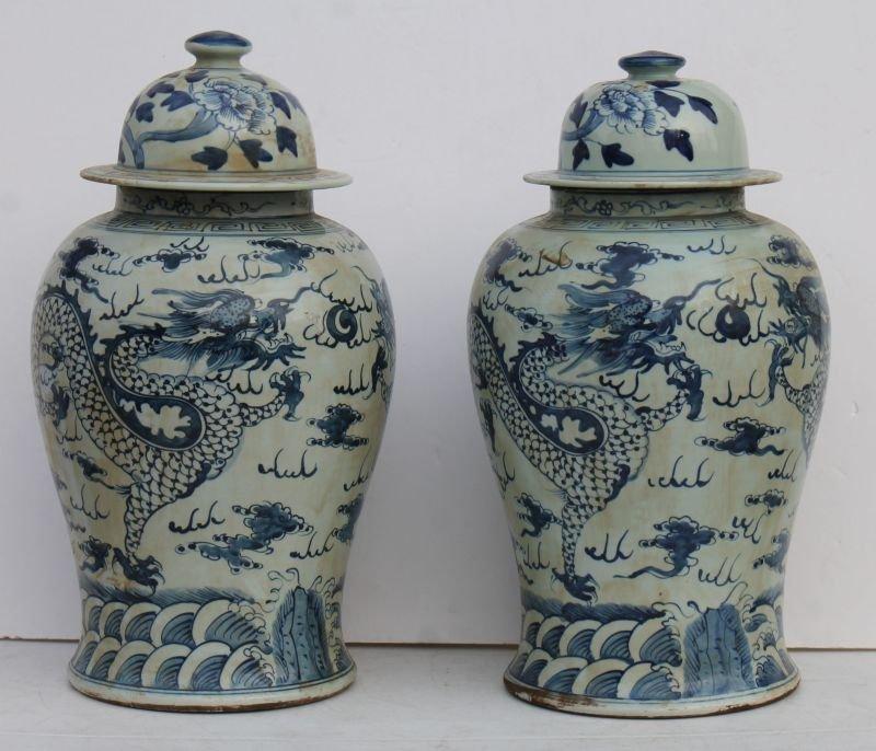 Fine pr of Chinese blue & white porcelain covered jars