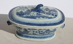 Ca 1840 Chinese Canton Covered Soup Tureen W Helmet