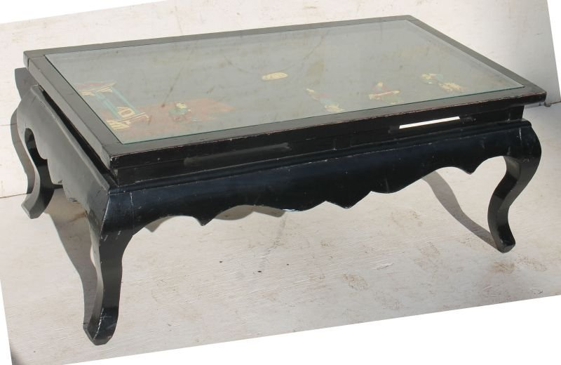 Chinese mid 20thC black laquered coffee table w glass