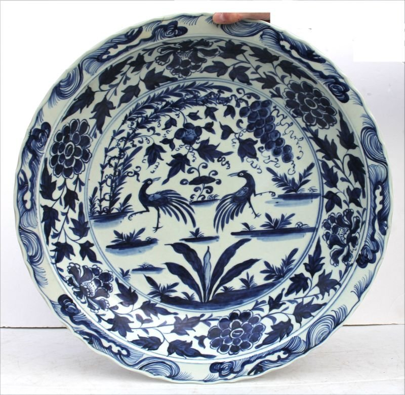 Fine large Chinese porcelain platter w peacocks, floral