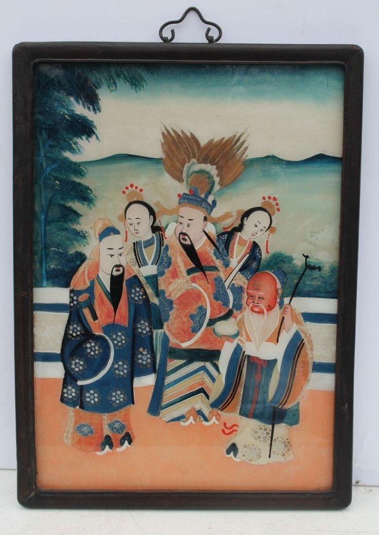 19thC Chinese reverse painting on glass of a courtyard