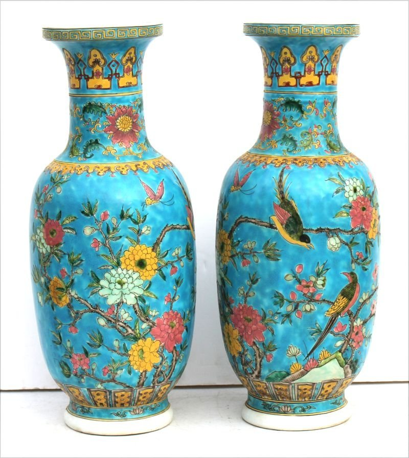 """pr of Chinese famille blue vases - 18"""" tall"""
