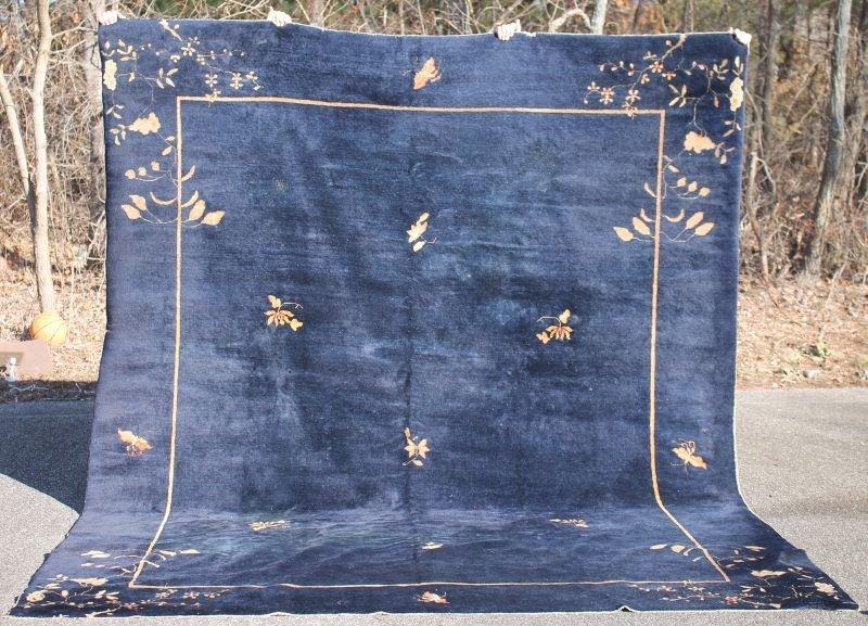 """9'x11'6"""" antique Chinese dark blue Oriental rm size rug"""