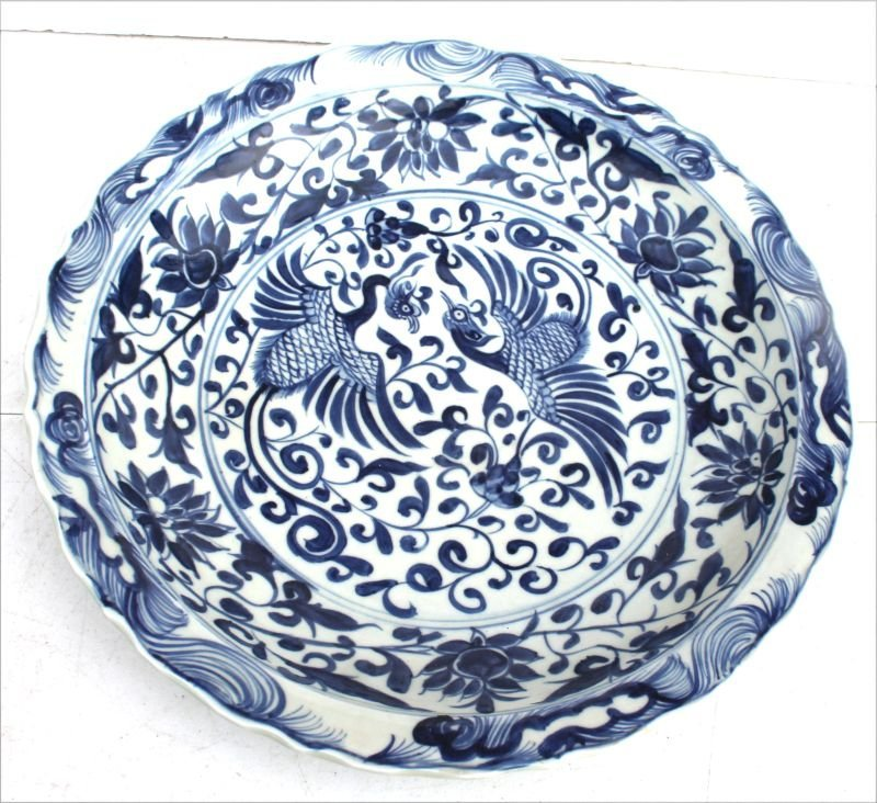 Chinese blue & white porcelain platter w 6 Chinese