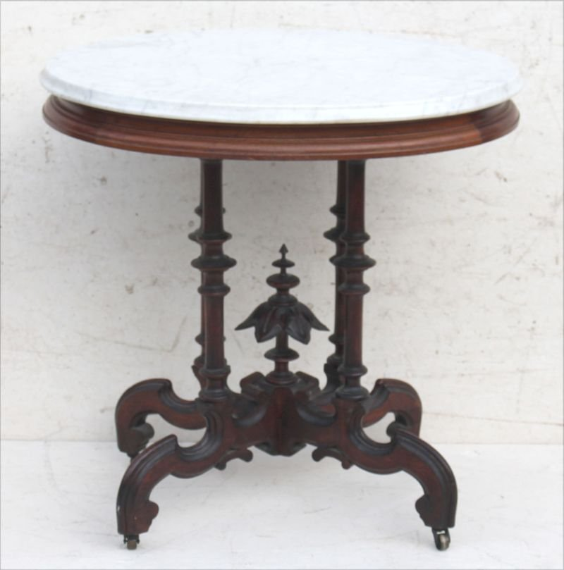 fine Vict carved walnut marble top table w elegant base