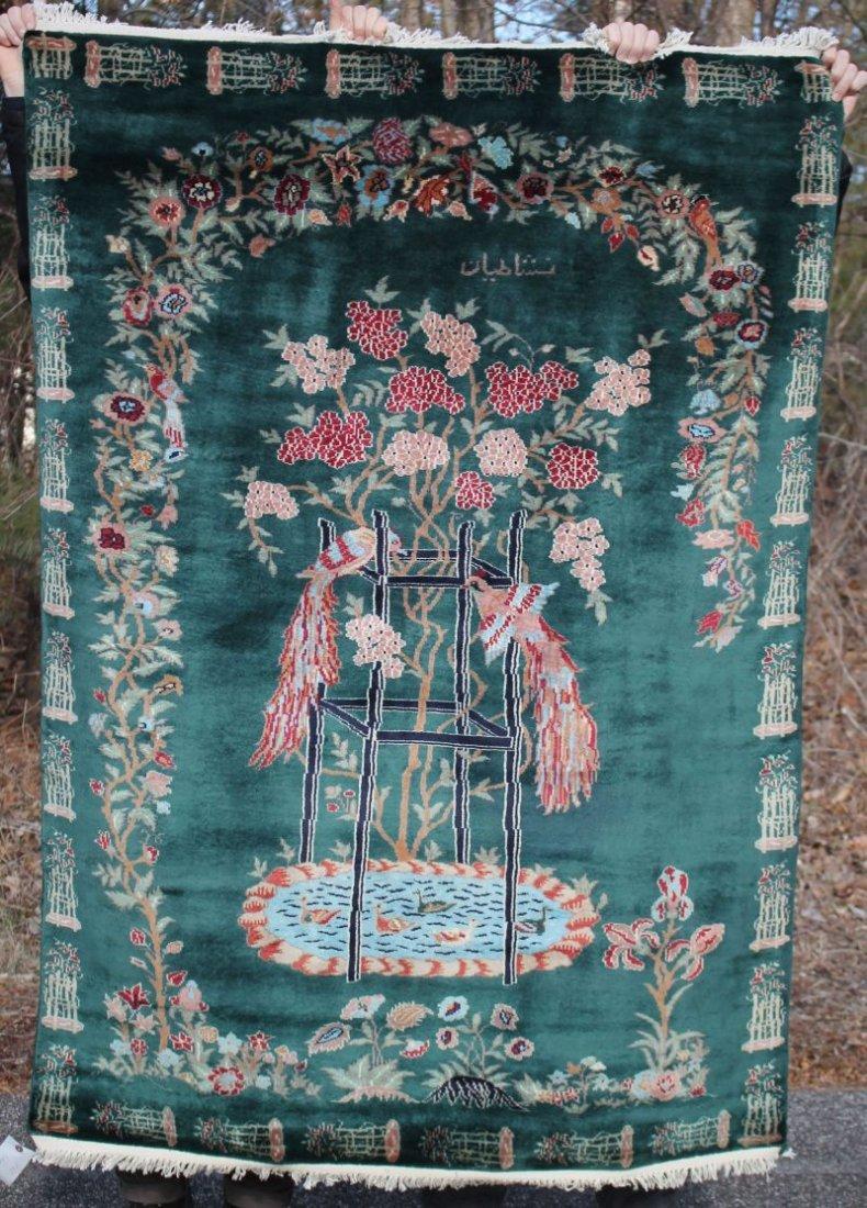 "4'2""x5'9"" Pictoral Oriental area rug"
