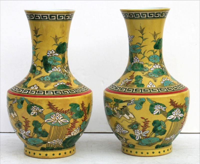 pr of Chinese yellow porcelain vases w birds & floral
