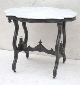 Victorian Carved Walnut Turtle Top Marble Top Table W