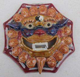 "Chinese Clay Dragon Wall Mask - 8"""