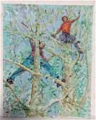 Large sgnd  38x30 oc depicting 2 children climbing