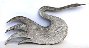 late 19thC rare form pine carved swan weathervane in