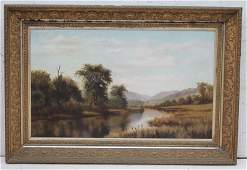 """19thC large 24""""x30"""" o/c well executed American"""