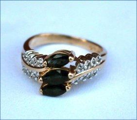 Beautiful 14k Gold Genuine Sapphire & Diamond Ring W 1