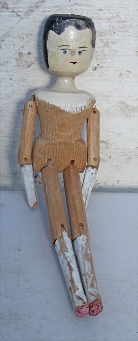 """Late 19thc 12"""" Fully Jointed Peg Wooden Doll - Also"""