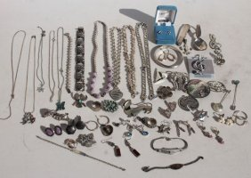 Large Lot Of Sterling Silver Jewelry Incl Necklaces,