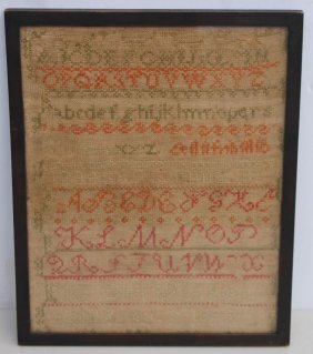 Dated 1852 Alphabet & Number Sampler By Ellen Barier -