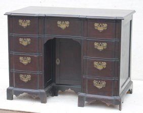 Chippendale Carved Mahog Block Front Kneehole Desk W