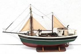 Antique Wooden Carved Sail & Power Fishing Boat Model