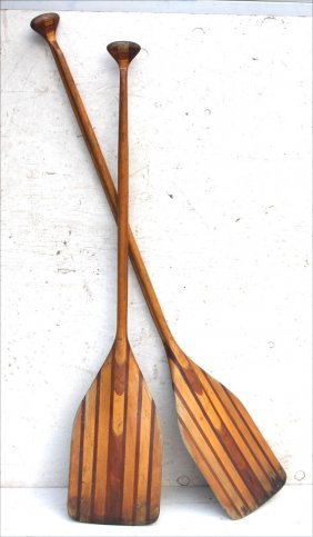 Fine Pr Of Sgnd Grumman Antique Canoe Paddles