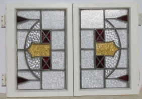 Matched Pr Of Leaded/stained Glass Windows W Red &