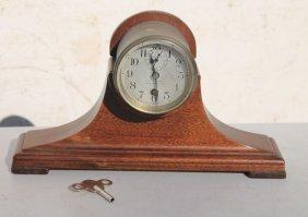 "Diminutive Chelsea Tambour Type Clock Marked ""jos. W."