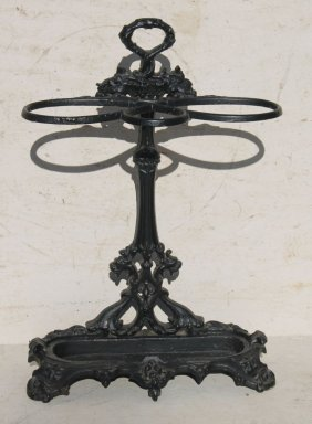 "19thc Victorian Cast Iron Umbrella Stand - 29"" Tall"