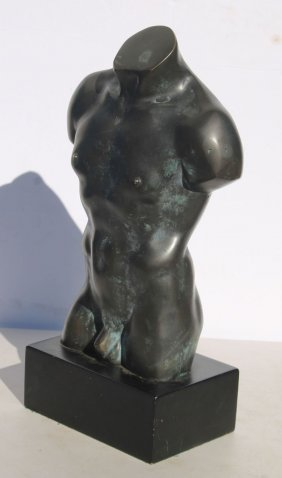 Mid Century Bronze Sculpture Of A Male Nude Torso - 17""