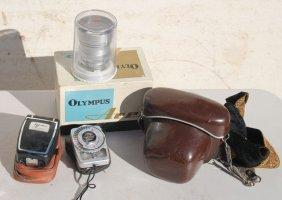 Camera Lot Incl 2 Olympus Cameras & A Schneile
