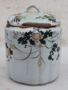 English Porcelain Biscuit Jar W Japaned Hand Painted