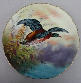 Limoges Hand Painted & Artist Sgnd Thomas Plate W Duck